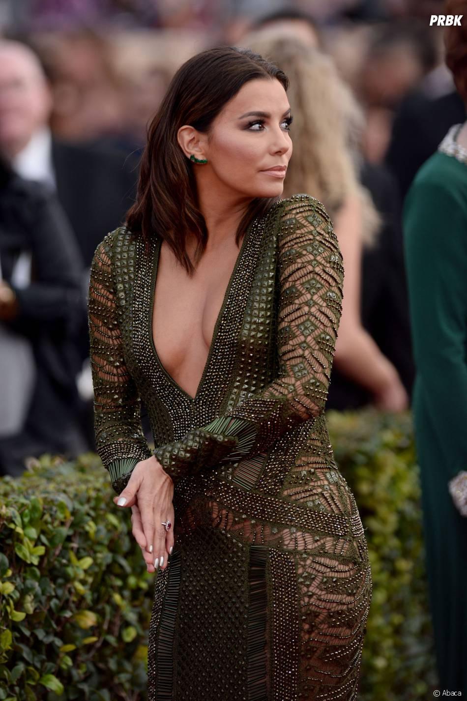 Eva Longoria : sa robe fait sensation lors des SAG Awards 2016, le 30 janvier, à Los Angeles